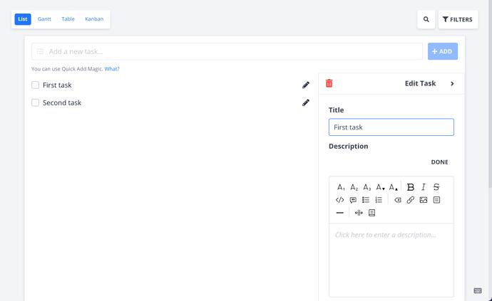 Delete icon in the edit panel